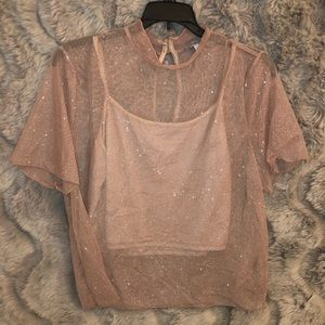 Charlotte Russe sparkly nude pink top